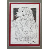 Australian Shepherd Cut Paper Art, Matted