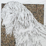 Afghan Hound Cut Paper Art, Matted