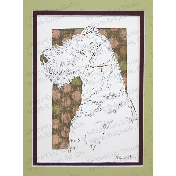 Airedale Terrier Cut Paper Art, Matted