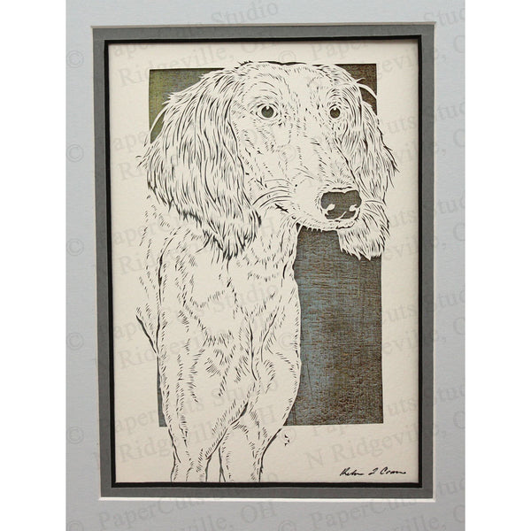 Saluki Cut Paper Art, Matted