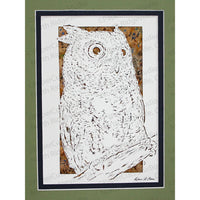 Owl Cut Paper Art, Matted
