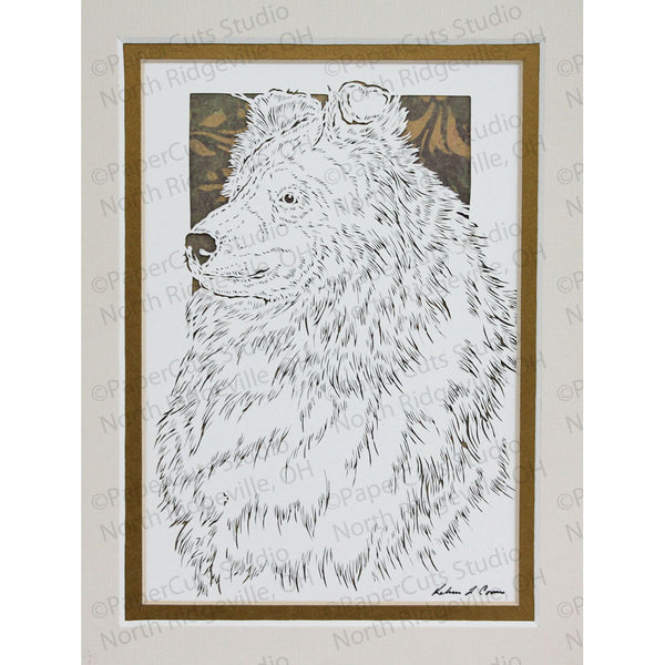 Shetland Sheepdog Cut Paper Art, Matted