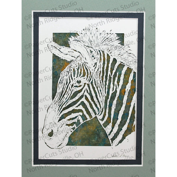Zebra Cut Paper Art, Matted