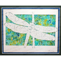 Dragonfly Cut Paper Art, Matted
