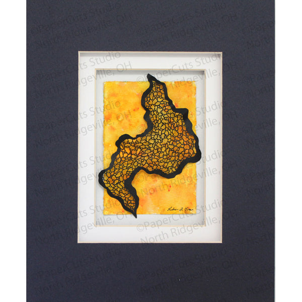 Topography Cut Paper Sculpture , Framed