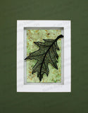 Large Mosaic Leaf Cut Paper Sculpture , Framed