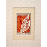 Small Mosaic Leaf Cut Paper Sculpture , Framed