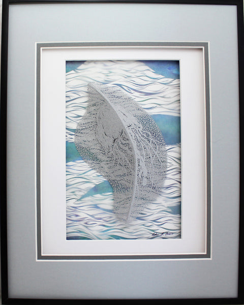 Currents II Cut Paper Sculpture , Framed
