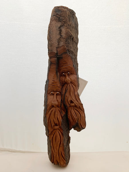 Multi-Woodspirit, Carved Bark Wall Piece