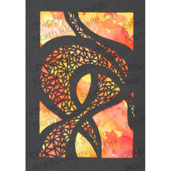Abstract Mosaic Cut Paper ACEO w Watercolor