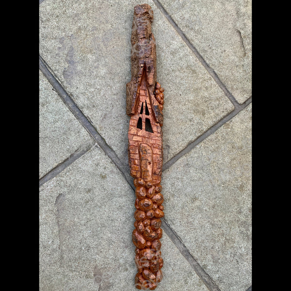 Spirit House, Carved Bark Wall Piece