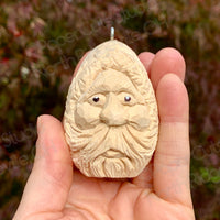 Egg Santa, Carved Wood Ornament