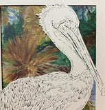Pelican Cut Paper Art, Matted
