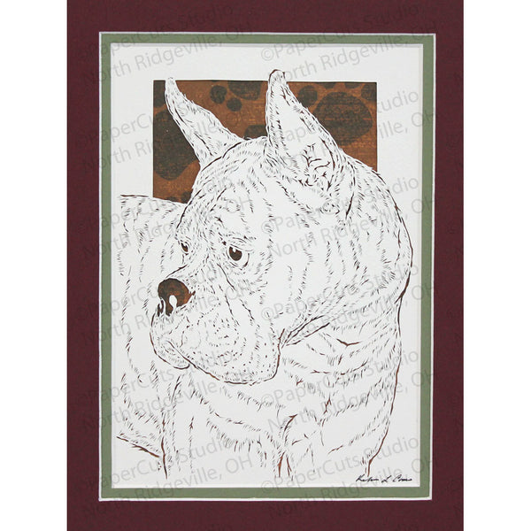 Boxer Cut Paper Art, Matted