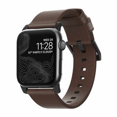 Nomad Modern Leather Band Rustic Brown with Black Hardware for Apple Watch 44/42mm