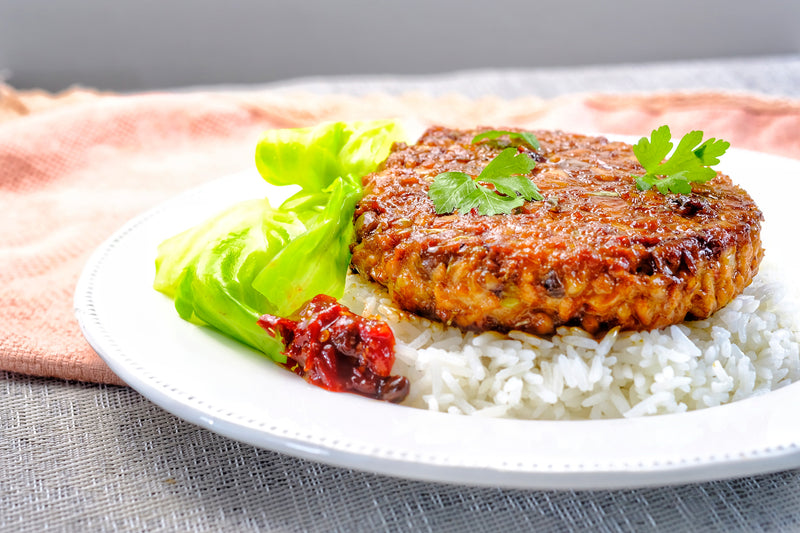 Fried  Spicy OMNIPORK Patty With Rice