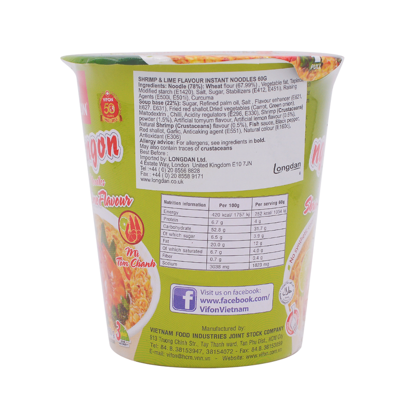 Vifon Oriental Style Shrimp & Lime Flavour 60g - Longdan Offical Online Store - UK Cash & Carry