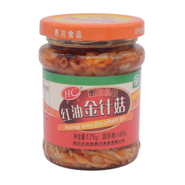Huichung Enoki Mushroom In Chili Oil 175g - Longdan Offical Online Store - UK Cash & Carry