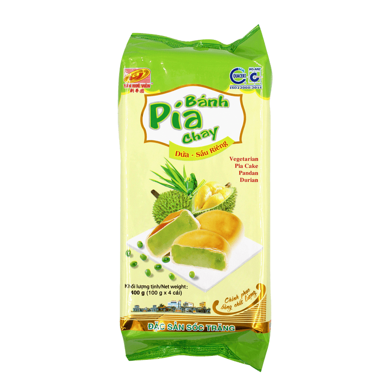 Tan Hue Vien Durian & Pandan Leaf Vegetarian Pia Cake 400g - Longdan Offical Online Store - UK Cash & Carry
