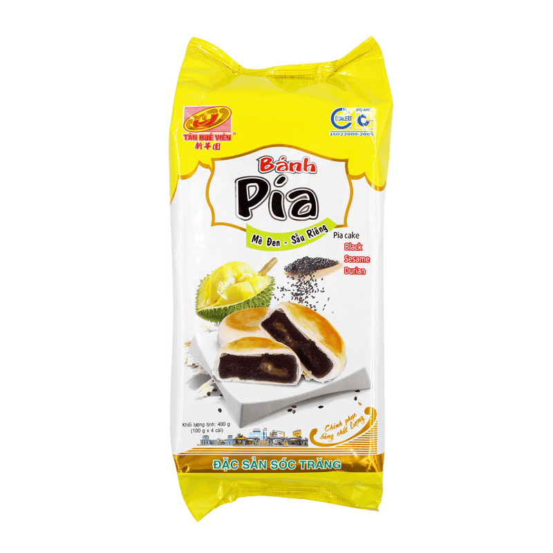 Tan Hue Vien Durian & Black Sesame Vegetarian Pia Cake 400g - Longdan Offical Online Store - UK Cash & Carry