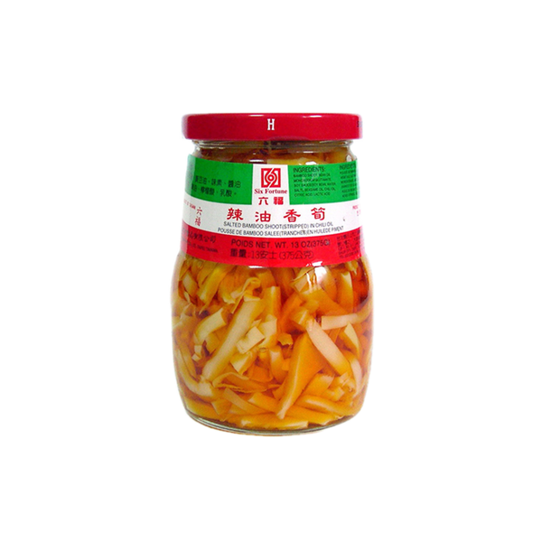 Six Fortune Salted Bamboo Strips in Chilli Oil 375g - Longdan Online Supermarket