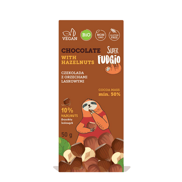 Super Fudgio Organic & Vegan Chocolate with hazelnuts 50g - Longdan Online Supermarket