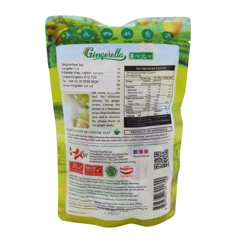 Gingerella Ginger Chewy Candy Mango 85g - Longdan Online Supermarket