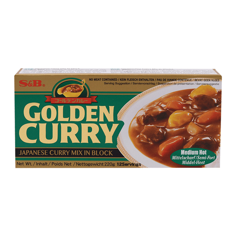 S&B golden Curry Sauce Mix Med-Hot 220g - Longdan Online Supermarket