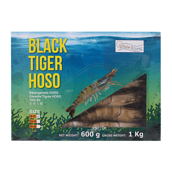 Kim Son Black Tiger Prawn HOSO 8/12 600g (1kg GW) - Longdan Offical Online Store - UK Cash & Carry