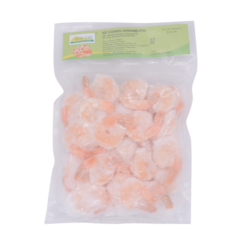 Kim Son IQF Cooked Vannamei PTO 26/30 500g - Longdan Offical Online Store - UK Cash & Carry