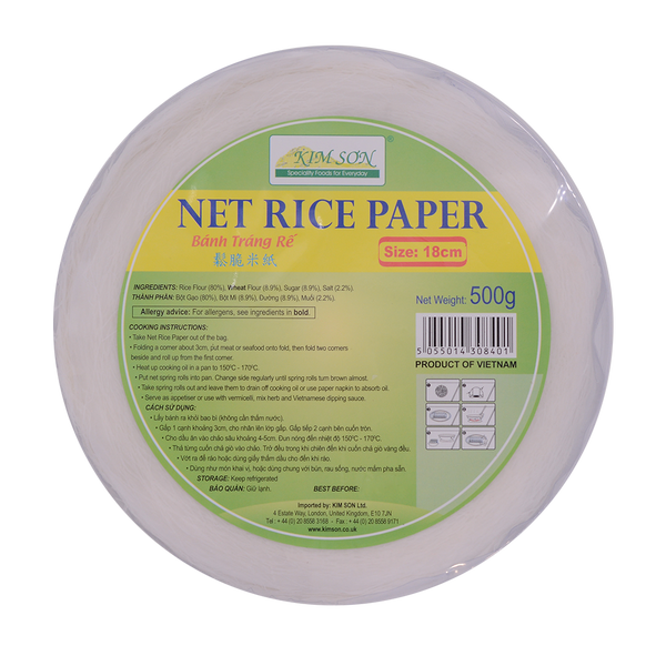 Kim Son Net Rice Paper 18cm 500g - Longdan Offical Online Store - UK Cash & Carry