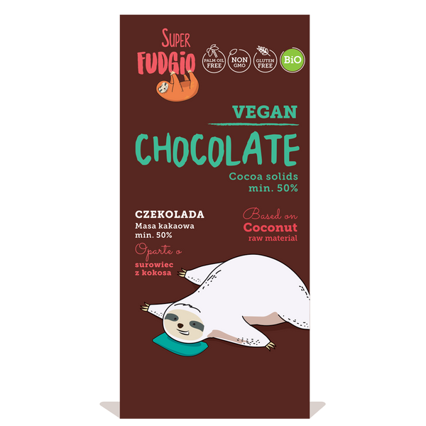Super Fudgio Organic & Vegan Coconut chocolate with cane sugar plain 80g - Longdan Online Supermarket