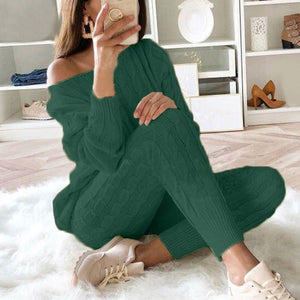 Knitted O-Neck Pullover - 2 Piece Set