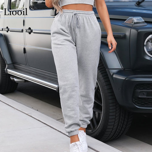 High Waist Sweatpants - Pockets