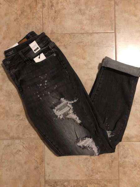 Black Bleach Splatter Judy Blue Jeans