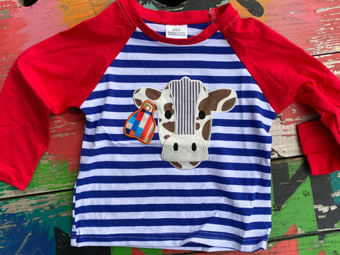 Boys Cow Appliqué Shirt