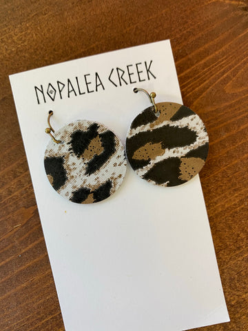 Gray Leopard Mini Leather Earrings