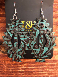 Turquoise Printed Tooled Earring