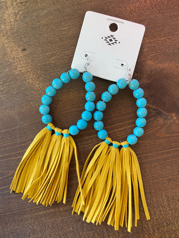 Mustard Turquoise Fringe Earrings