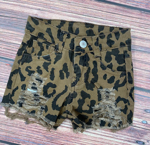 Leopard Kids Denim Shorts