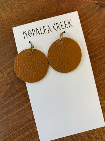 Tan Mini Leather Earrings