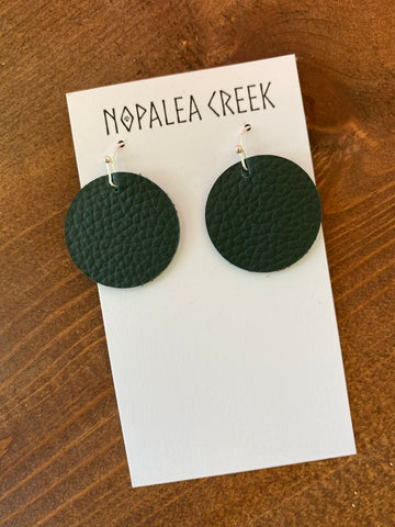 Hunter Green Mini Leather Earrings