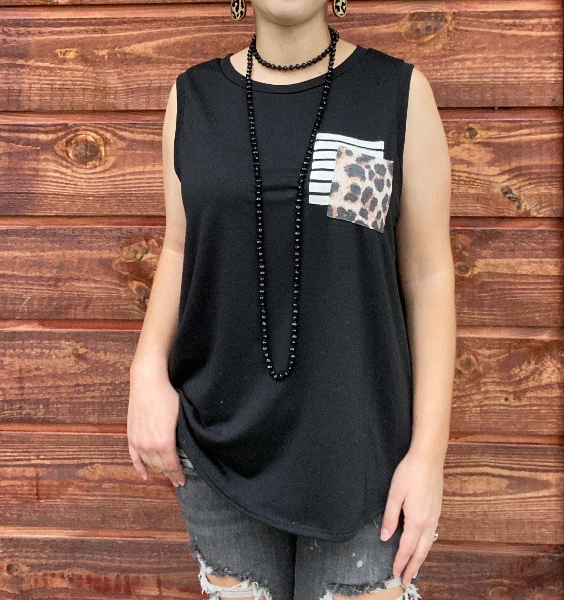 Black Leopard Pocket Tank S-L