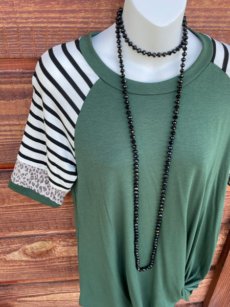 Olive Leopard Top S-L