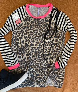 Leopard Stripe Top S-L