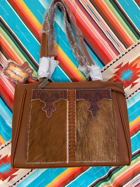 Trinity Ranch Cowhide Tooled Purse
