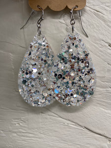 White Silver Glitter Earrings