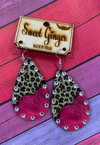 Rhinestone Pink Leopard Earrings