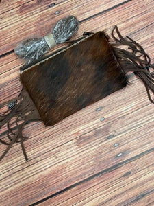 Fringe Brindle Cowhide Crossbody/Clutch