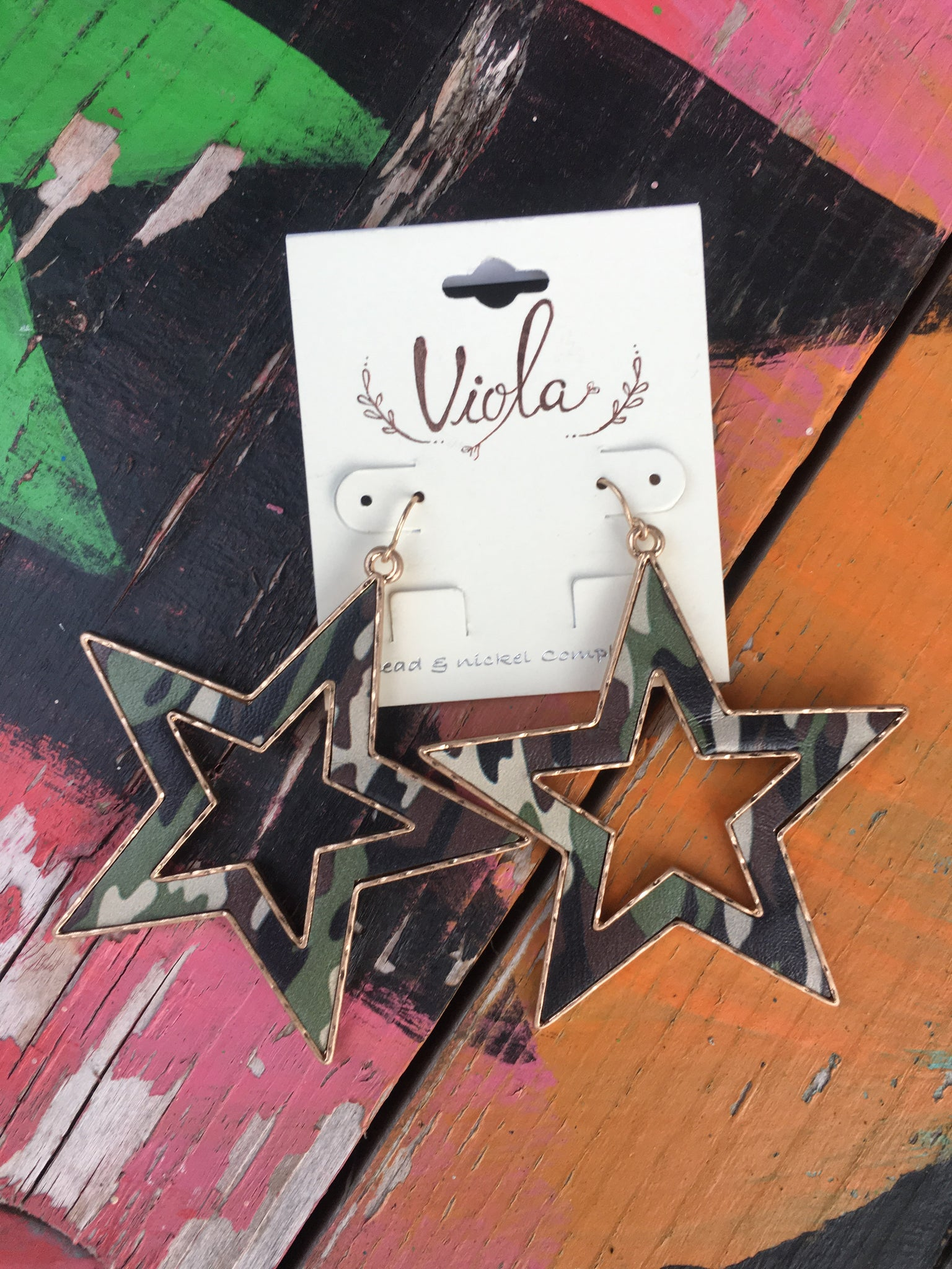 Camo Star Earrings